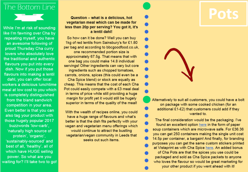 Third page of the finished Four Things document