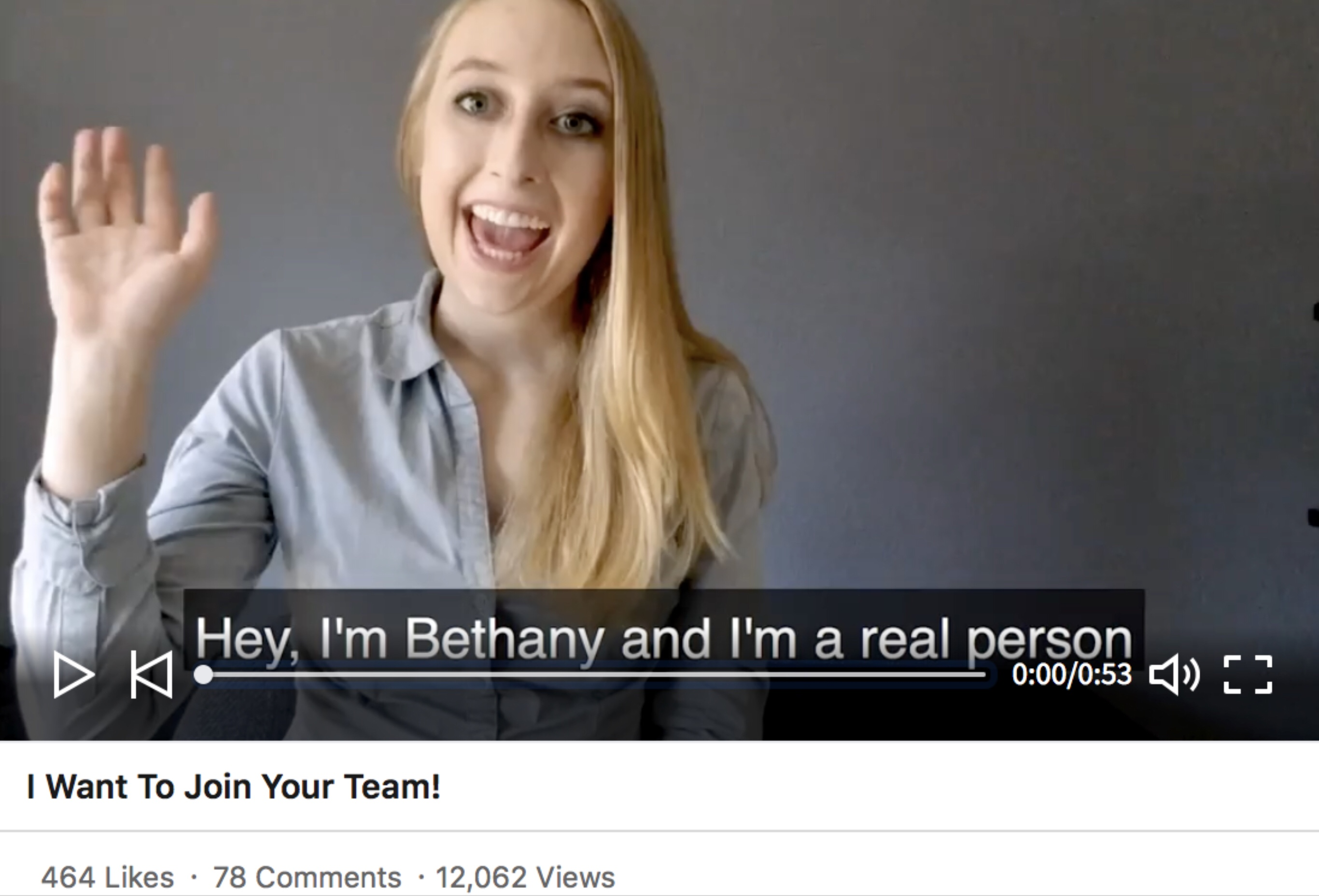 A screenshot of the Hire Bethany campaign video